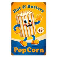 Fiftiesstore Hot and Buttery Popcorn Zwaar Metalen Bord