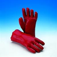 Handschoen PVC rood categorie 2 lengte 35cm maat 10