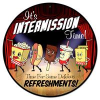 Fiftiesstore It's Intermission Time! Snacks Zwaar Metalen Bord