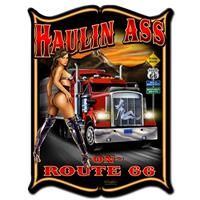 Fiftiesstore Haulin Ass On Route 66 Pin Up Zwaar Metalen Bord 48 x 35 cm