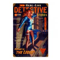 Fiftiesstore Detective Stories The Ledge Pin-Up Zwaar Metalen Bord - Greg Hildebrandt