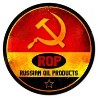 Fiftiesstore ROP Russian Oil Products Zwaar Metalen Bord 35,5 cm