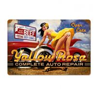 Fiftiesstore Yellow Rose Complete Auto Repair Zwaar Metalen Bord