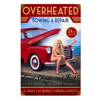 Fiftiesstore Overheated Towing and Repair Pin-Up Zwaar Metalen Decoratie Bord - Greg Hildebrandt