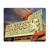 Fiftiesstore Dave's Coffee Shop by Larry Grossman Zwaar Metalen Bord