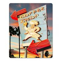 Fiftiesstore Coffee Shop by Larry Grossman Zwaar Metalen Bord