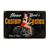 Fiftiesstore Bone Yard's Custom Cycles Pin-Up Zwaar Metalen Bord