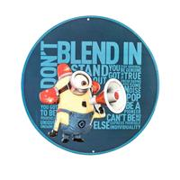 Fiftiesstore Don't Blend In Minion Rond Metalen Bord