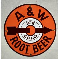 Fiftiesstore A&W Root Beer Emaille Bord
