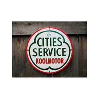 Fiftiesstore Cities Service Koolmotor Emaille Bord