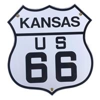 Fiftiesstore Route 66 Kansas Emaille Bord