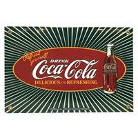 Fiftiesstore Coca-Cola Sunburst Delicious And Refreshing Emaille Bord 30,5 x 20,5 cm