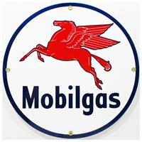 "Fiftiesstore Mobilgas Logo Emaille Bord 12"" / 30 cm"
