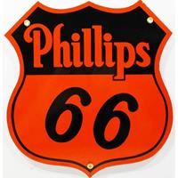 Fiftiesstore Phillips 66 Oranje Logo Emaille Bord 30 x 28 cm