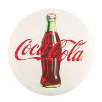 Fiftiesstore Coca-Cola Rond Metalen Logo Bord Button Wit