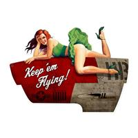 Fiftiesstore Keepm Flying Pin Up Zwaar Metalen Bord
