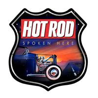Fiftiesstore Hot Rod Spoken Here Zwaar Metalen Bord