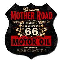 Fiftiesstore Genuine Mother Road Route 66 Motor Oil Zwaar Metalen Bord