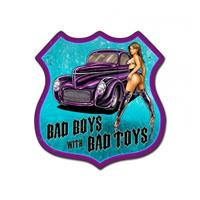 Fiftiesstore Bad Boys With Bad Toys Pin Up Zwaar Metalen Bord