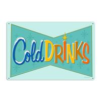 Fiftiesstore Cold Drinks Heavy Zwaar Metalen Bord
