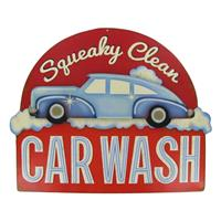 Fiftiesstore Squeaky Clean Car Wash Tin on Tin Embossed Metalen Bord