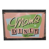 Fiftiesstore Mom's Diner Open 24 Hours Houten/Metalen Bord