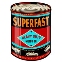 Fiftiesstore Superfast Motor Oil Can Shaped Zwaar Metalen Bord