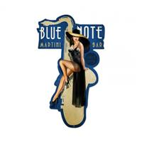 Fiftiesstore Blue Note Martini Bar Jazz Pin-Up Zwaar Metalen Bord
