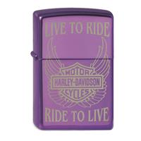Fiftiesstore Zippo Lighter Harley-Davidson Live to Ride, Purple
