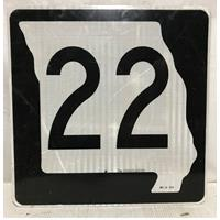 Fiftiesstore Missouri Route 22 Highway Origineel Straatbord