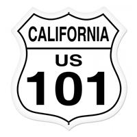 Fiftiesstore California Route 101 Zwaar Metalen Bord 70 x 70 cm