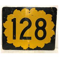 Fiftiesstore California Route 128 Highway Origineel Straatbord