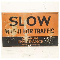 Fiftiesstore Slow Watch For Traffic Granum Insurance Bord - Origineel