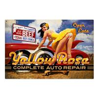 Fiftiesstore Yellow Rose Complete Auto Repair Zwaar Metalen Bord XL