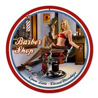 Fiftiesstore Barber Shop Pin-Up Zwaar Metalen Bord XL