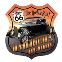 Fiftiesstore Route 66 America's Highway Hot Rod Zwaar Metalen Bord XL