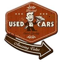Fiftiesstore Used Cars, Amazing Value 30's Style 3D Sign Zwaar Metalen Bord