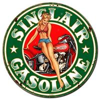 Fiftiesstore Sinclair Gasoline Pin Up Zwaar Metalen Bord Rond ø 76 cm