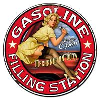 Fiftiesstore Gasoline Filling Station Pin Up Zwaar Metalen Bord Rond ø 76 cm