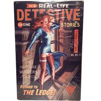 Fiftiesstore New Real Life Detective Pin Up Zwaar Metalen Bord XL 91 x 61 cm