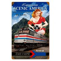 Fiftiesstore Amtrak EMD F40PH Trein Pin-Up Zwaar Metalen Bord XL 91 x 61 cm
