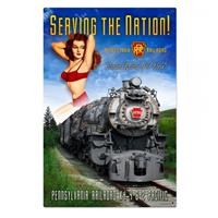 Fiftiesstore Serving The Nation Pennsylvania Railroad Pin-Up Zwaar Metalen Bord XL