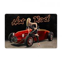 Fiftiesstore Hot Rod Pin-Up Zwaar Metalen Decoratie Bord XL - Greg Hildebrandt