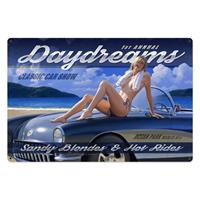 Fiftiesstore Daydreams Classic Car Show Pin-Up Zwaar Metalen Decoratie Bord XL - Greg Hildebrandt