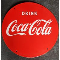 Fiftiesstore Coca-Cola Red Emaille Logobord Groot