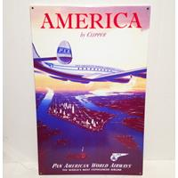 Fiftiesstore Pan American World Airways - America by Clipper Emaille Bord Groot