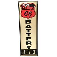 Fiftiesstore Phillips 66 Battery Service Metalen Bord met Relief