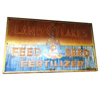Fiftiesstore Land of Lakes Feed Seed Fertilizer origineel reklamebord