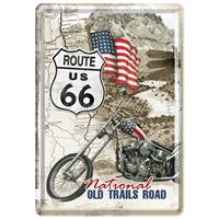 Fiftiesstore Route 66 Old Trails Road Metalen Postkaart