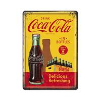 Fiftiesstore Coca-Cola In Bottles Delicious Refreshing Metalen Postkaart